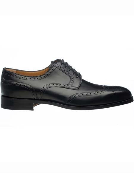 Buy SM2578 Ferrini Men's Laceup Style Black French Calfskin Wingtip Punch Hole Brogues Leather Shoes