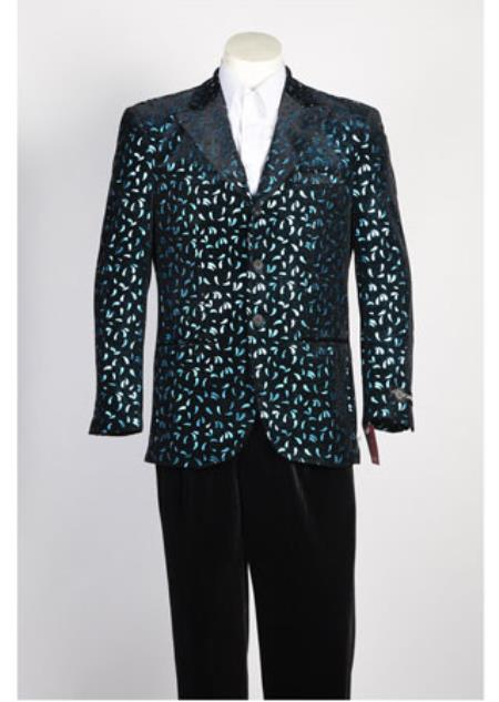 Mens Fashion Paisley Floral Blazer Sport Coat Jacket Black Rayon Suit Blazer Looking