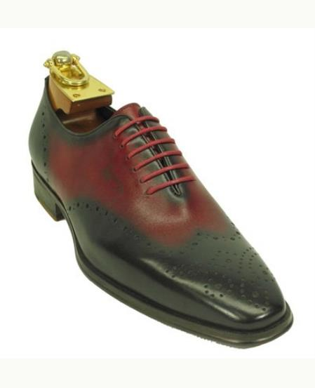 Mens Lace Up Style Black / Red Fashionable Carrucci Leather Black Dress Shoe - Red Mens Prom Shoe