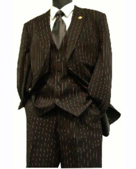 SKU#JRP61 Mens 3 Piece Black & Red Stripe ~ Pinstripe Vested Suit 3 Piece lapeled vest 3 Button Suit