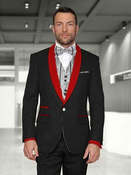 Men's Black/Red Shawl Lapel 1 Button Modern Fit Two toned Lapel Evening Tuxedos - Red Tuxedo