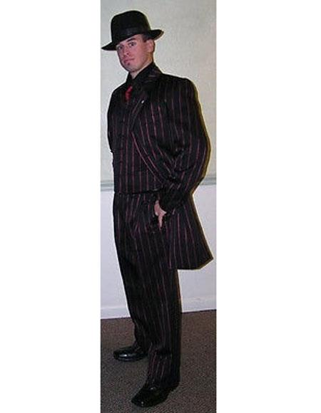 Mens Single Breasted Black with red stripe Zoot Suit
