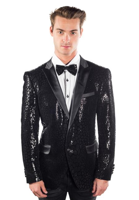 Mens Sequined Reptilian Print Cheap Priced Designer Fashion Dress Casual Blazer For Men On Sale Black Blazer