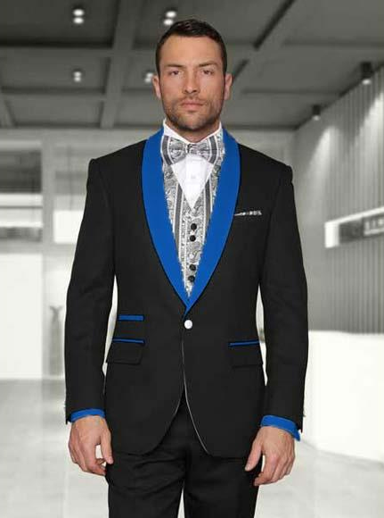 Black/Royal Blue Men's Shawl Lapel 1 Button Two toned Lapel Modern Fit Evening Tuxedos