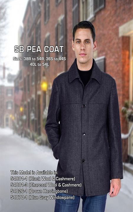 Mens Dress Coat Black Sb Pea Coat