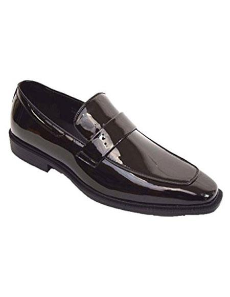 SKU#ST1 Mens Black Shiny Tuxedo Dress Shoes Slip on Loafer