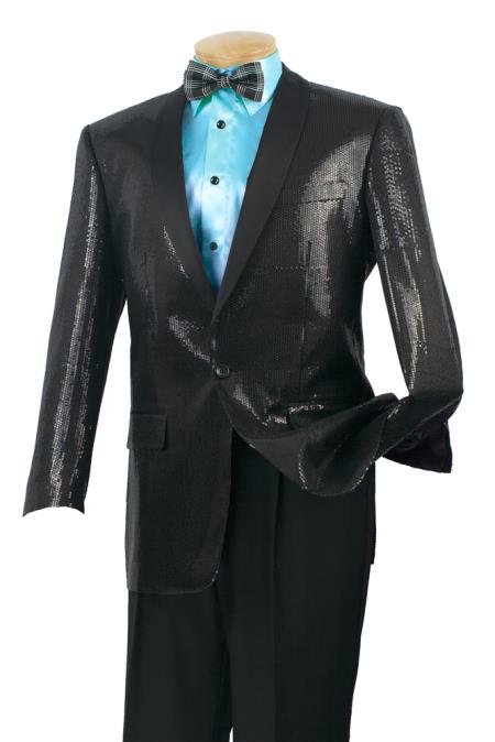 Mens Satin Shiny Luxurious Wool Feel Sport Coat – Sequins Black