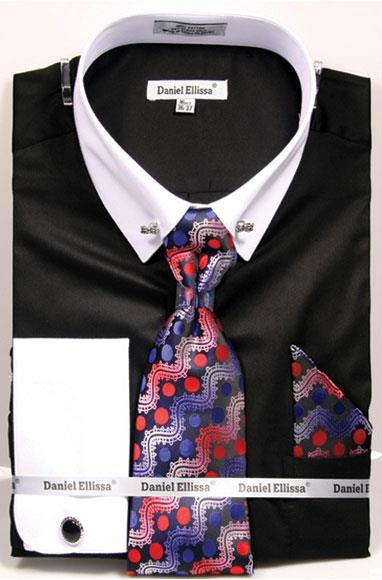 Men's Black Solid Pattern French Cuff 100% Cotton Fashion Shirt with Tie & Hanky Set