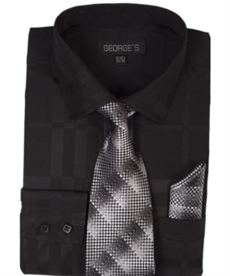 Black On Black 60% Cotton 40% Polyester Shadow Striped Tie with Hanky Mens Dress Shirt