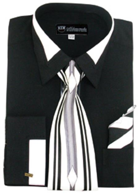 French Cuff Contrast Collar Matching Tie and Hanky Set Mens Dress Shirt