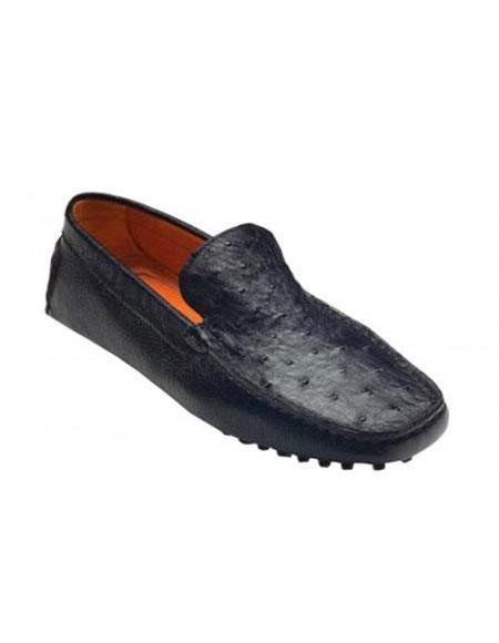 Mens Tom Black Genuine Ostrich / Calf Shoes Vestigium Driving Shoes slip on Stylish Dress Loafer for men