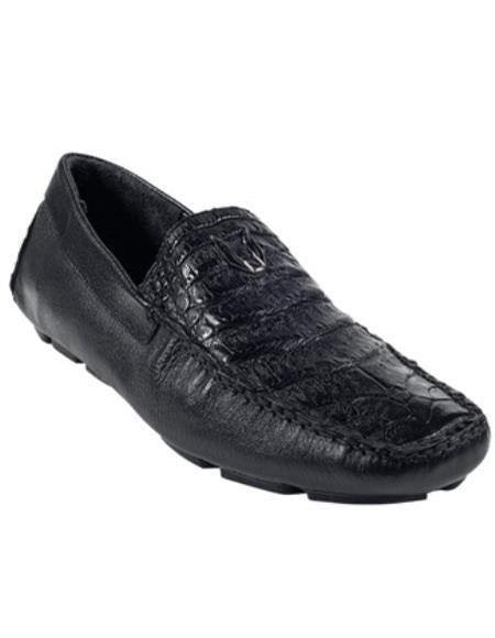 Mens Black Genuine Caimen Belly Driver Vestigium Driving Shoes slip on Stylish Dress Loafer for men