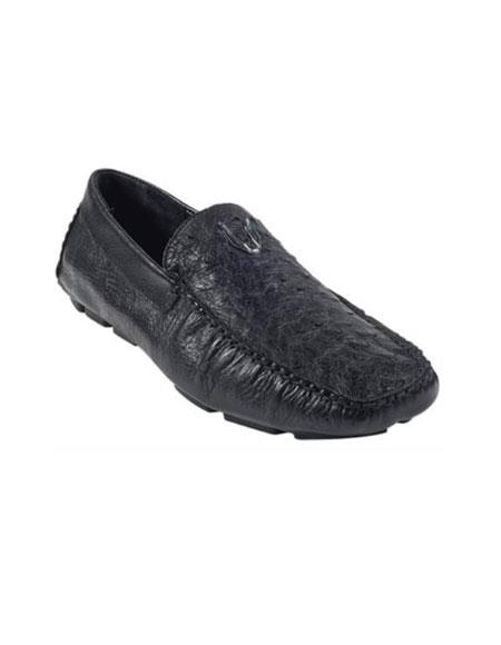 Men's Black Genuine Ostrich Full Quill Driver Vestigium Driving Shoes slip on Stylish Dress Loafer for men Mens Ostrich Skin Shoes