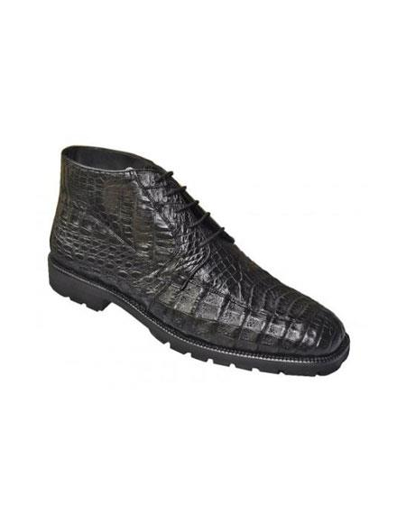 Mens Short Boots Los Altos Boots Black All-Over Genuine Crocodile ~ World Best Alligator ~ Gator Skin Ankle Boots