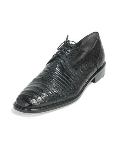 Mens Los Altos Caiman Oxford And Genuine Teju Lizard Five Eyelet Laces Black Shoes