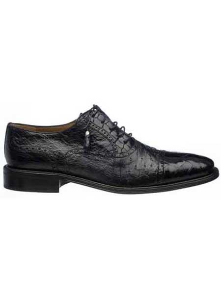 Ferrini Black Men's World Best Alligator ~ Gator Skin & Ostrich Quill Cap Toe Shoes