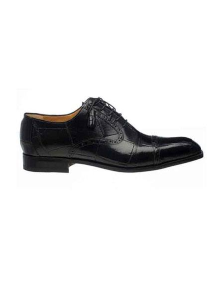Ferrini Mens Black Cap Toe Italian Style Lace Up World Best Alligator ~ Gator Skin Belly