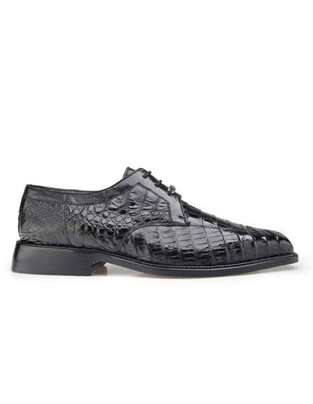 Susa Authentic Genuine Skin Italian Men's Genuine Crocodile Black Shoes