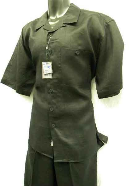 Mens 2 Piece Big Size Linen Short Sleeve Casual Outfit Black
