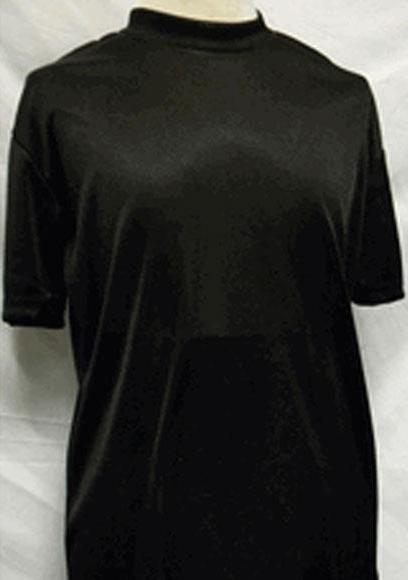 Men's Classy Mock Neck Shiny Short Sleeve Black Shirt