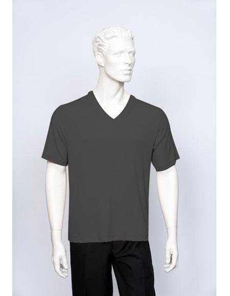 Tulliano Poly/Spandex S/SL Ribbed Crew Neck Men's Black V-Neck Ribbed Short Sleeve
