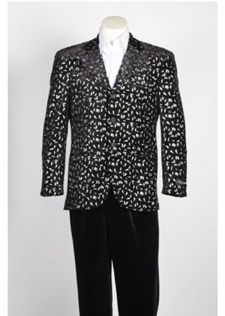 Men's Paisley Floral Blazer Sport Coat Jacket Fashion Three buttons Suits Black Silver Blazer Looking