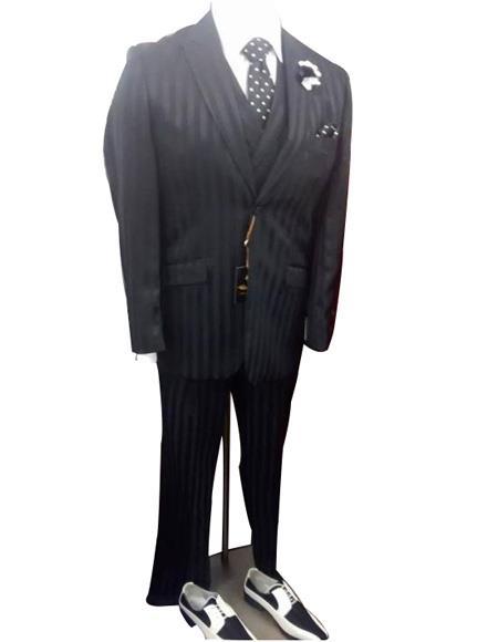 Black striped 2 button peak lapel flap front pocket vested suit mens