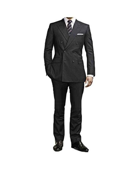 Buy GD1169 Men's Kingsman Black Striped Pattern Double Breasted Button Closure Suit