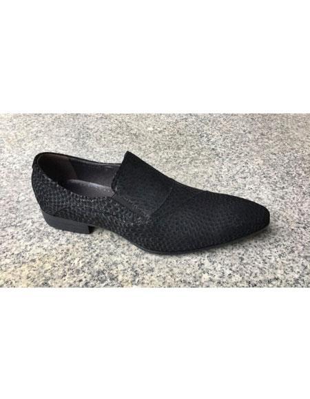 Men's Genuine Suede Soft Genuine leather Slip-On Black Tiger pattern Stylish Dress Loafer Unique Zota Men's Dress Shoe