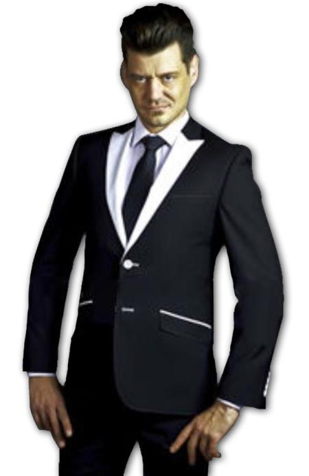 Men's Slim Fit Suit - Fitted Suit - Skinny Suit Men's Black Suit with White Peak Lapel and pick stitching