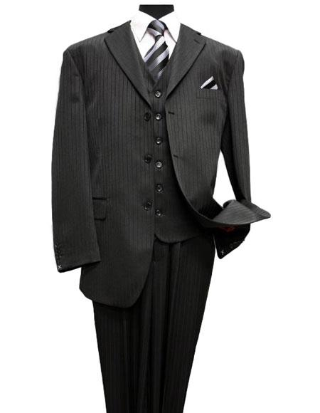 Black On Black 3Pc Vested Shadow Stripe ~ Tone On Tone Pinstripe Three Piece Suit Vested Suit  3PC Available 2 or 3 buttons