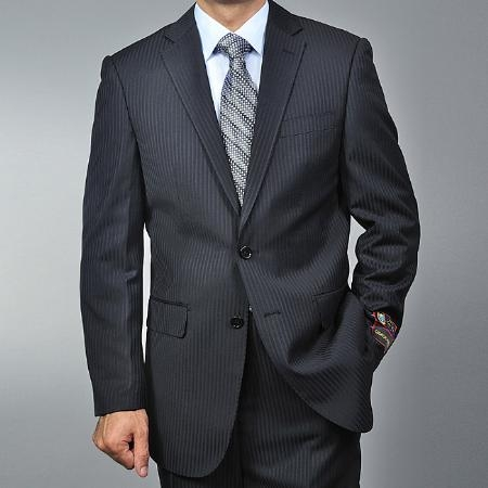 SKU#CA1426 Men's Black Tonal Pinstripe 2-button Suit