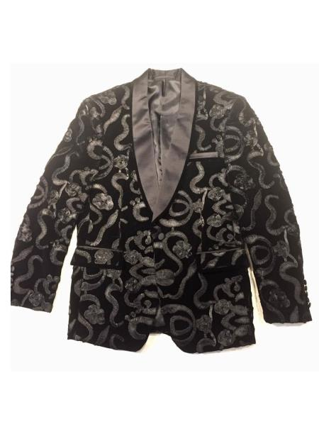 Alberto Nardoni Brand Men's Black Trimmed Shawl Lapel Cheap Priced Designer Fashion Dress Casual Blazer For Men On Sale Velour Blazer