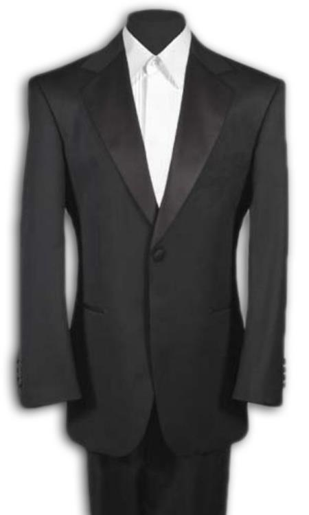 Men's Black Tuxedo 1 One Button Notch Tuxedo Suit