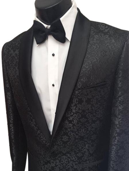 Mens Floral Pattern 1 Button Black Shawl Lapel Tuxedo