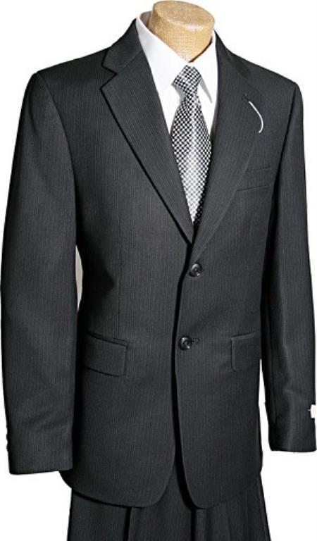 2 Button Kids Sizes Black Pinstripe Boy Designer Suit Perfect for toddler Suit wedding  attire outfits