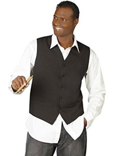 Mens Black V-Neck Tailored 5 Button Down Dress Tuxedo Wedding Vest ~ Waistcoat ~ Waist coat