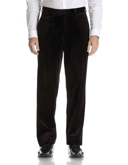 Mens Black Modern Fit Velvet Fabric Flat Front Pant