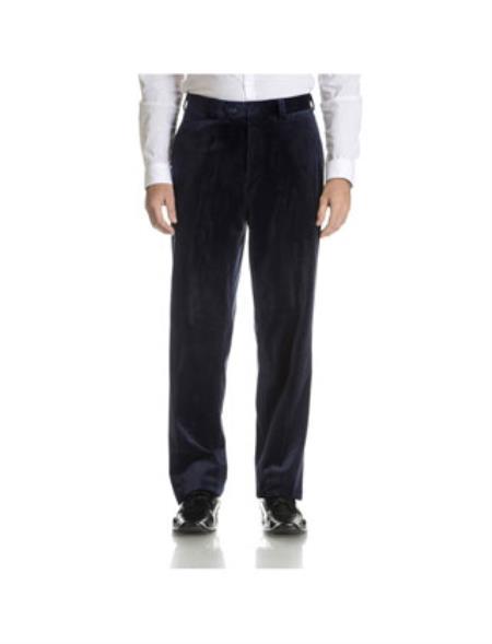 Men's Black Flat Front Velvet Pants unhemmed unfinished bottom
