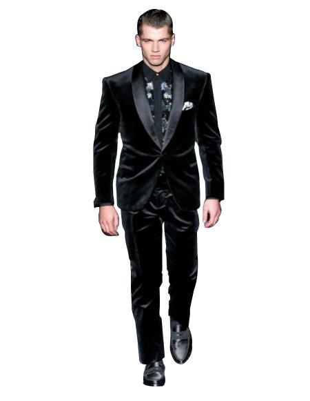 Mens High Fashion Black Shawl Lapel Velvet Suit + Velvet Pants