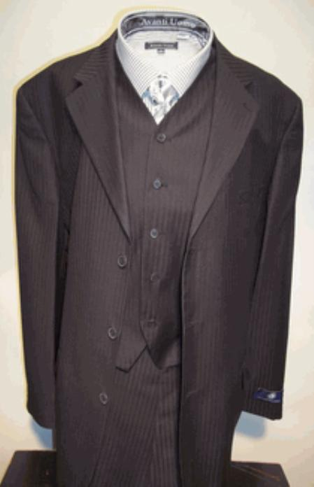 SKU#T633SE Mens Black Vested Tone on Tone Stripe ~ Pinstripe three piece affordable suit online sale