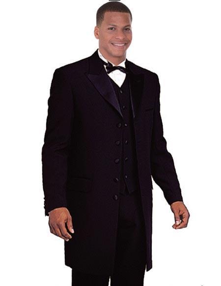 Black Vested Zoot Suit Sateen Lapel Long Style Fashion Peak Lapel Fashion Tuxedo For Men