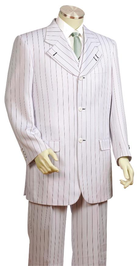 SKU#GF8720 Mens Fashionable 3 Piece Vested White With Black Pinstripe Zoot Suit
