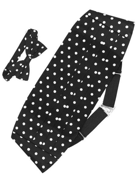 Mens Silk Polka Dot Black w/ White Bowtie & Matching Cummerbund