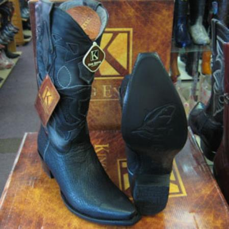 Mens King Exotic Cowboy Style By los altos botas For Sale Snip Toe Genuine Shark Western Cowboy Black Boot