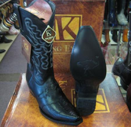 Buy MK932 Mens King Exotic Genunie Ostrich Leg Black Snip Toe Western Cowboy Boot
