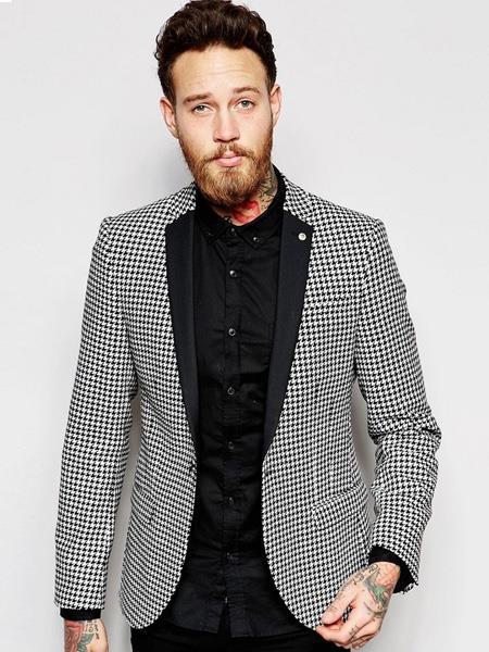 Mens Houndstooth Blazers Mens Black  White Designer Fashion Dress Casual Blazer