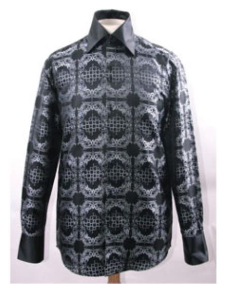 Men's High Collar Black White Fancy Pattern Shiny Shirts Night Club Outfit guys Wear For Men Clothing Fashion