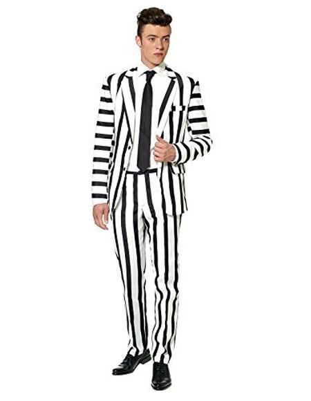 Men's Fancy 2 Button  Black ~ White Stripe Suit