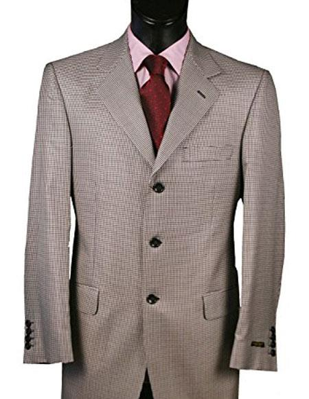 Men's Black and White Blazer Wool Classic Fit